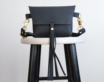 The Bogotá - Hip Bag with Tassel in Charcoal Black Leather