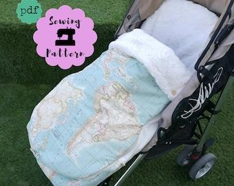 Patrón PDF Saco universal para silla paseo bebé, patrón de costura para hacer bolso para carro bebé y sacos de silla universales, DESCARGA