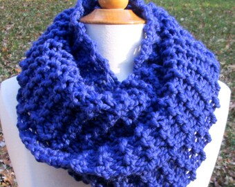 Plush Infinity Scarf Cowl in Bright Cobalt Blue