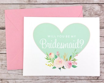 Will You Be My Bridesmaid Card, Bridesmaid Proposal Card, Heart Bridesmaid Card, Wedding Card, Bridesmaid Gift - (FPS0008)