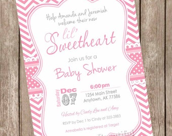 Lil Sweetheart Girl Baby Shower Invitation, pink, chevron, hearts, lil' sweetheart, printable invitation