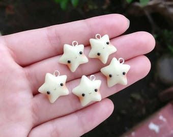 Glow in the Dark Kawaii Star - Polymer Clay Charm - Cute Stars with Faces - Lights up - Planner Charm