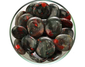 Stunning! 1 African BLOODSTONE Palm Stone Jasper Crystal Healing and Stone Red Quartz Crystal #AB02