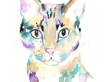 Savannah Cat Watercolor Print, Cat Watercolor Print, Cat Watercolor Painting, Print of Cat, Tabby Cat Art, Cat illustration, Print of Cat