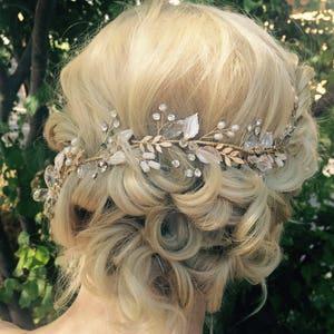 Hair Vine, Bridal Antique Gold Leaf Hair Vine, Wedding Hair Accessory, Bridal Wreath With Clear Crystal Rhinestones, Hair Crown