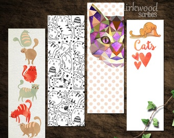 Silly Cat Bookmarks |  Set of 4 Printable Cat Bookmarks |  Instant Download Funny Kitty Bookmarks