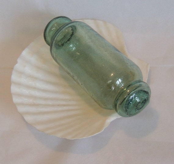 """Vintage Japanese 5.75"""" Rolling Pin GLASS FISHING FLOAT.. Striations, Bubbles (#34)"""