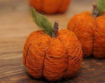 Needle Felted Pumpkin in Burnt Orange Wool