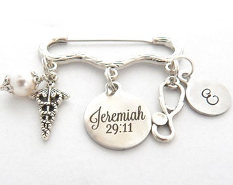 Nurse Pinning Ceremony-Jeremiah 29:11-Scripture Graduation Jewelry-Nurse Graduation-Nurse Jewelry-For i know the plans i have for you-BSN RN