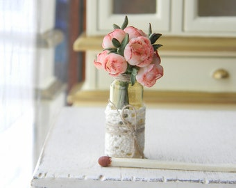Dollhouse Flowers, Miniatures 1:12, Miniature Flowers, Dollhouse  Miniature Flowers Bouquet, dollhouse décor, Peonies in  Glass Jar