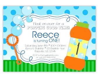 Bubble Invitation - Green Stripe, Blue Polka Dot Sky, Fun Orange Blowing Bubbles Personalized Birthday Party Invite - Digital Printable File