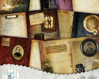 "Spooky Victorian Junk Journal, Journal Pages 5"" x 7"", DIY Journal Kit, Ephemera, Halloween Stationery, Paper Craft Supplies - Attic Ghosts"