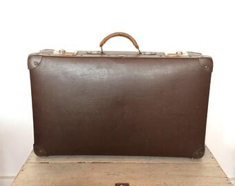Retro bruine koffer vintage brown fifties sixties suitcase - Vulcan Fiber Sohmann - Rockabilly