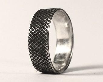 Industrial Textured Ring Band - Narrow -  Sterling silver.  Handmade