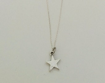 Star charm, necklace, sterling silver