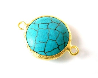 1 pc Matte 22K Gold Plated Base Turquoise  Connector - Turquoise 25x17mm-(008-033GP)