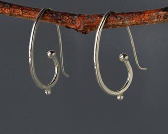 Silver Hoop Earrings, Sterling Silver Hoop Earrings, Large Hoop Earrings, Minimalist Earrings, Artist handmade Hoops, Graduation Gift