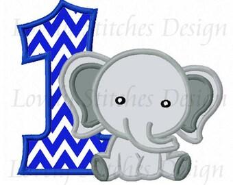 1st Birthday Elephant Applique Machine Embroidery Design NO:0631