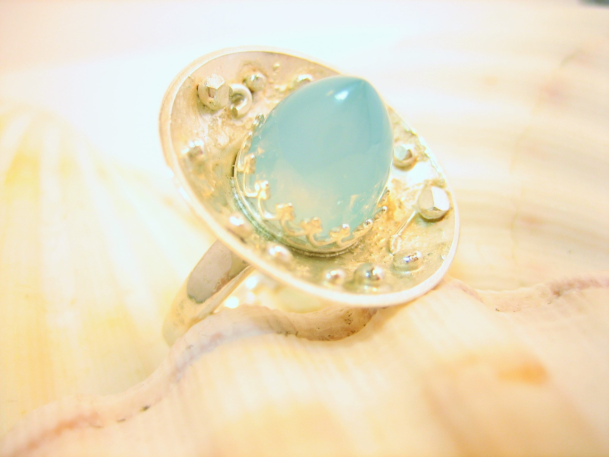 Large blue bullet chalcedony adjustable ring, silver textured ring with large blue stone, dreamy blue gem and silver ring, gift for her