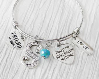 Sister to Sister Gift-Bangle Bracelet-Always my sister forever my friend-Personalized Bangle Bracelet-Gift from Bride, Wedding Jewelry, Love