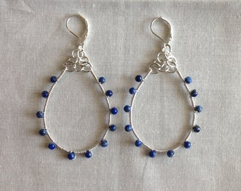 Silver and Lapis Elongated Hoop Earrings