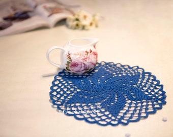 Beautiful Crochet Doily Dark Royal, Round crochet doily, Home decor, Vintage, Coaster, bedroom, leaving, kitchen, Handmade Gift