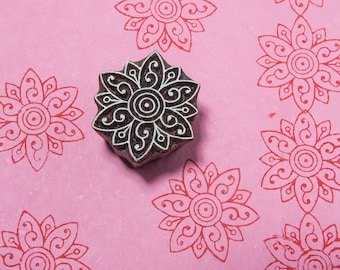 Mehendi Flower 0103, hand carved textile stamp