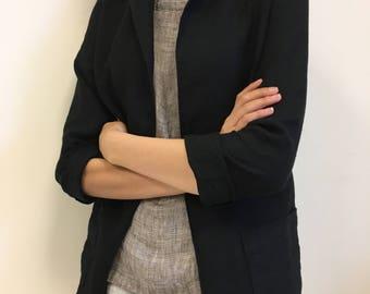 Loose black jacket with pockets from Lithuanian linen, classic long jacket for women, black linen blazer, short black linen coat