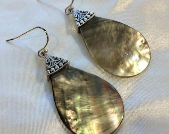 Vintage Hanging Tear Drop Shell and Silver Pierced Earrings