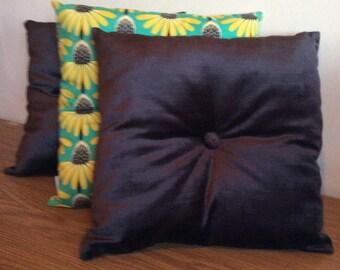 Charcoal Velvet Retro Cushion