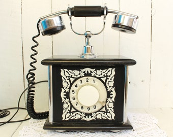 Soviet phone black Vintage telephone Retro phone Rotary phone Antique phone Rare soviet phone Black retro phone Christmas gift Telephones
