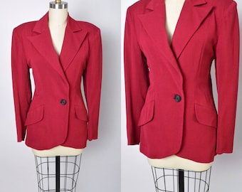 Vintage 1940s Tailored Jacket Red 40s Fitted Coat Nipped Waist