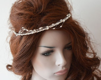 Bridal Crown, Wedding Crown, Rhinestone and Pearl Tiara, Bridal Headband, Bridal Hair Accessory, Wedding hair Accessory