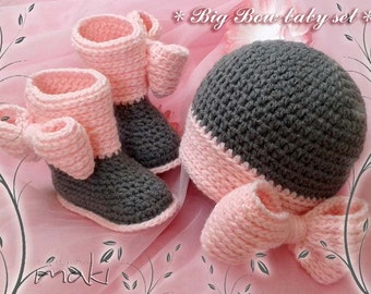 BIG BOW baby set - Crochet pattern set - baby boots and hat. Full of large pictures! Permission to sell finished items.