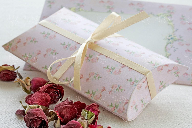 Printable wedding pillow box -pink shabby wedding favour box ...