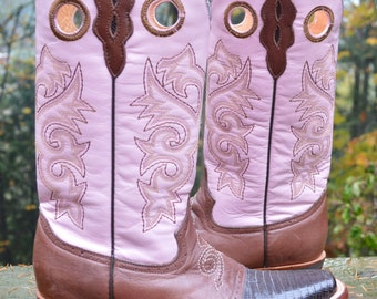 Size 9B ~  PINK Ferrini Women's Bison/Lizard Saddle Vamp Cowgirl