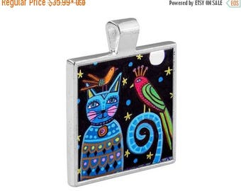 SALE ENDING- Cat Folk Art Jewelry - Pendant Metal  Gift Art Heather Galler Gift-  Cat Lovers Abstract Modern Vegan Gifts