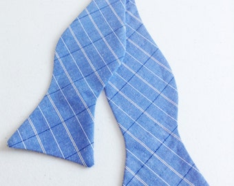 Self tie bow tie blue and white plaid