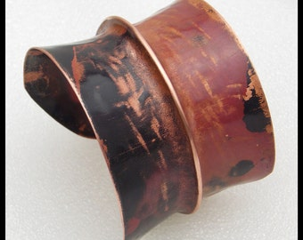CHARISMA - Handforged Foldformed Wide Copper Cuff Bracelet - 1 of a Kind
