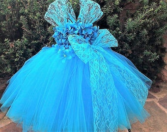 TURQUOISE FLOWERS with LACE,  Blue Tutu Dress, Flower Girl Gown, Pageant Girl Dress , Blue Lace Tutu Dress,  Baptism Gown, First Birthday