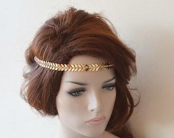 Bridal Gold Rhinestone Headband, Leaf Wedding Headband, wedding Accessories,  Bridal Accessories,  Bridal Hair Accessories, Vintage Style