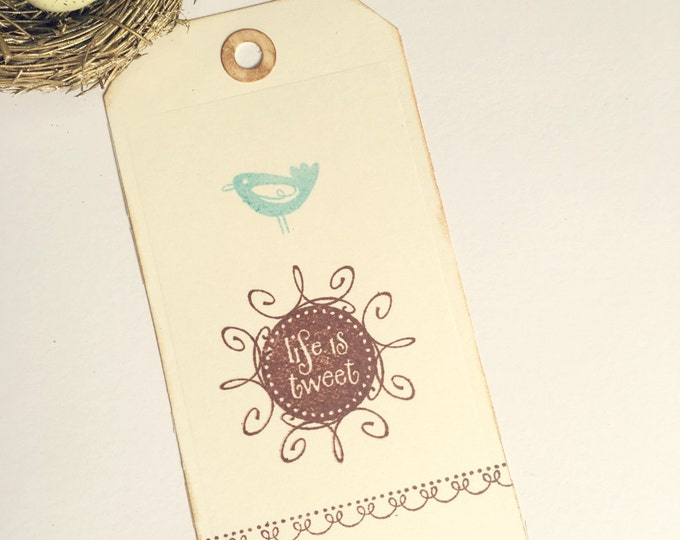 Large Gift Tags, Bluebird, Life is Tweet, Hand Stamped, Distressed Edges, Wedding Tags,  Tags, 4 Tags