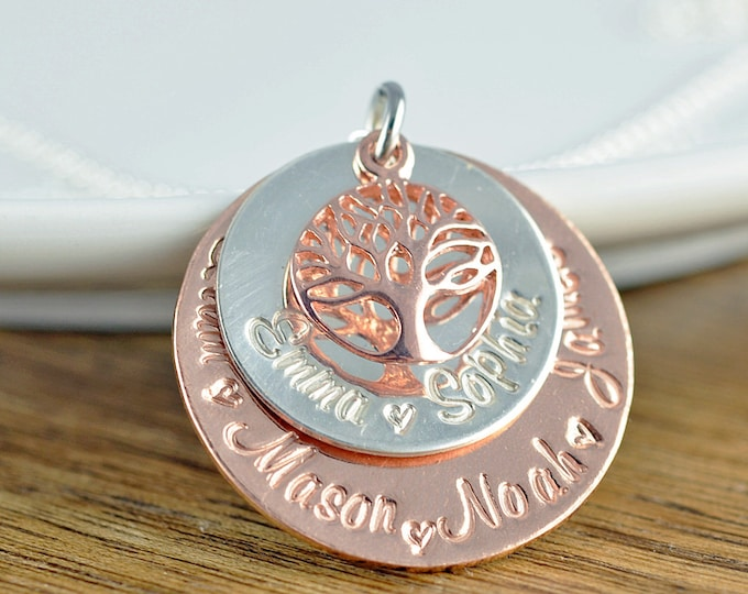 Family Tree Necklace Personalized, Personalized Grandma Gifts, Rose Gold Family Tree Necklace, Mother's Necklace, Tree of Life Necklace