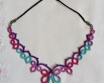 Boho Style Necklace - Tatted Lace - Frivolite - Multi Color - Unique Design - Summer Festival - Rave Accessory - Hippie Fashion - Frywolitka