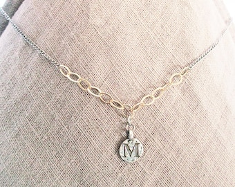 M mixed metal initial gold silver jewelry, M personalized letter coin necklace, personalized sterling silver and gold filled chain M jewelry