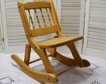 Vintage Childs Wooden Rocking Chair Folding Wood Rocker Childrens Furniture  Rustic Farmhouse Country Decor PanchosPorch