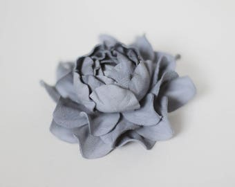 Blue Grey Leather Flower Brooch, Blue Floral Jewelry, Boho Style Cherry Blossom, Blue Flower, Grey Flower Pin, Leather Rose