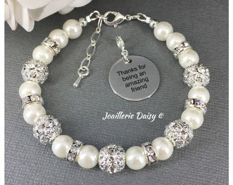 Thanks for being an amazing friend Charm Bracelet Gift for Best Friend Pearl Bracelet Best Friend Bracelet Thank you Gift Idea
