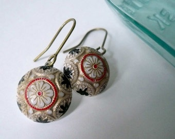 Mosaic earrings Playing card earrings Victorian flower earrings 1920s earrings Black and white earrings Red gold dangles Gold fill ear wires