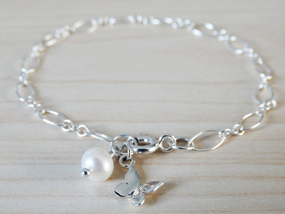 Silver Bracelet With Pearl & Butterfly - Sterling Silver
